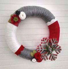 Christmas yarn wreath snowflake wreath wool felt wreath by madymae