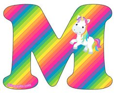 Unicorn letter M Unicorn And Glitter, Unicorn Art, Unicorn Gifts, Magical Unicorn, Unicorn Drawing, Alternative Disney Princesses, Alphabet Cards, Alphabet Stencils, Rainbow Parties
