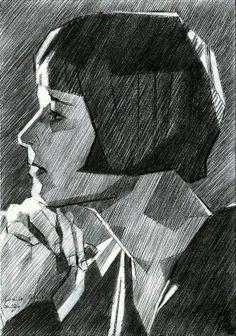 Louise Brooks - 05-05-14, graphite on paper (A5) (for sale / te koop) say hidedi on: www.corneakkers.com #arts #kunst #Corné #Corne #Akkers #藝術 #アート #искусство #فن  #seni