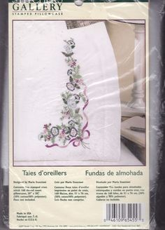 Stitchers Gallery Cross Stitch Stamped Pillowcases WM65455 Blue & Violet Bouquet #StitchersGallery #crossstitch #pillowcase