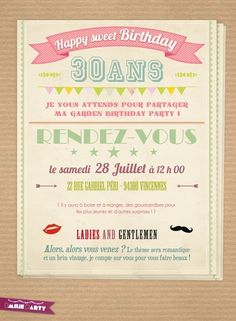 Carte d'invitation anniversaire rétro Happy Party, Big Party, Party Time, 30th Birthday, Girl Birthday, Birthday Cards, Birthday Parties, Diy Birthday Invitations, Paper Cards