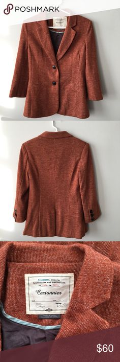 Anthropologie Heathered Rust Blazer Like it was made just for you, soft jersey has been impeccably tailored into a sleek silhouette. By Cartonnier. Fully lined. Faux front pockets & 3/4 sleeves. Great for layering or using as a jacket. Excellent used condition - no stains, holes or pilling. Last photo shown for fit/styling purposes - listing is for color on the left (rust). Bundle & save 💰! Sorry - 🚫 trades! Anthropologie Jackets & Coats Blazers