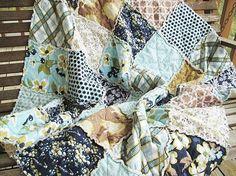 Picnic Quilt Throw, Rag, Modern Meadow, navy light blue brown, ALL NATURAL, fresh modern handmade