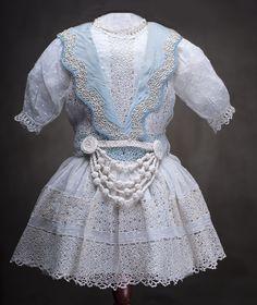 "Antique Original Lace & Batiste dress + blue silk slip for Jumeau Bru Steiner Bebe doll about 25-26"" Antique dolls at Respectfulbear.com"