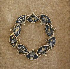 Vintage Japanese Damascene Fan Bracelet Gold by robinseggbleunest, $48.00