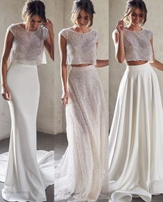 2 or Which bridal separates look would you wear on your wedding day? Two Piece Wedding Dress, Dream Wedding Dresses, Bridal Dresses, Wedding Gowns, Bridesmaid Dresses, Prom Dresses, Wedding Bells, Evening Dresses, Anna Campbell Bridal