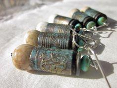 Bird Song Earrings - Honey from the Bee, Janet Bocciardi Ammo Jewelry, Leather Jewelry, Metal Jewelry, Jewelry Crafts, Jewelry Art, Jewelry Design, Leather Cuffs, Leather Bracelets, Jewlery