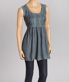 Look at this Papillon Imports Gray Embellished Sleeveless Tunic on #zulily today!