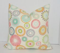 Multi Color Pinwheel Print Decorative Pillow Cover Throw Pillow Cover Size 18x18