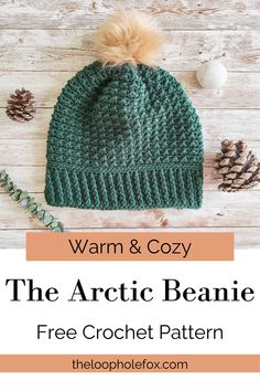 The Arctic Beanie is a crochet hat for winter that has a lovely texture perfect for any style. The texture of this crochet beanie is super pleasing to look at and wear, but is a nice dense fabric that doesn't have holes so your head and ears will stay nice and warm. What's even better is this crochet hat pattern was designed to not only be warm, but also be lightweight so you won't feel like you can't hold your head up while wearing it. Win/Win/Win! Enjoy this free crochet beanie pattern.