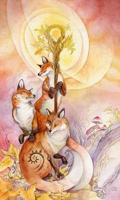 Stephanie Pui-Mun Law - Shadowscapes Tarot - Fantasy Art - Ace of Wands Fantasy Kunst, Fantasy Art, Page Of Wands, Dragons, Photo D Art, Fox Art, Oracle Cards, Fairy Art, Tarot Decks