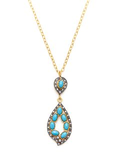 Open Leaf & Turquoise Pendant Necklace by Kevia at Gilt