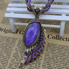 Angels Wings PURPLE Pendant Resin Choker Necklace -Choker Fashion Necklace