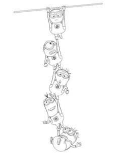 Minions Sunday Kids Coloring Pages Use One Minion On A Page In Group Of