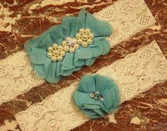 Tiffany Blue  Wedding Garter Set/  Bridal by Buildagarterworkshop