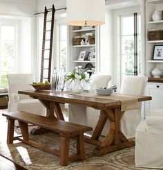 Gorgeous rustic wooden dinner table