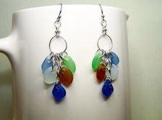 Sea Glass Earrings  Beach Glass Jewelry  Long by BikerBlingCa, $30.00