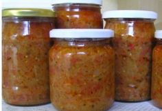 Zakuszka télire Diabetic Recipes, Diet Recipes, Larder, Marmalade, Pesto, Preserves, Pickles, Food And Drink, Canning