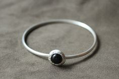 """Always the """"polite""""color that makes you feel super for your outfit! Were this bangle with a simple black dress and impress everybody Enjoy more jewels at my Etsy shop Silver Bangles, Silver Cuff, Sterling Silver Bracelets, Simple Black Dress, Bohemian Rings, Black Agate, Thumb Rings, Agate Stone, Etsy Shop"""