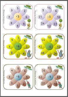 Mompitzige Rechenblumen zur Multiplikation und Division - -