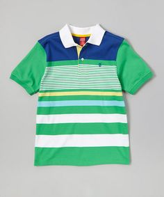 Love this Green & Blue Stripe Polo - Toddler & Boys by IZOD on #zulily! #zulilyfinds