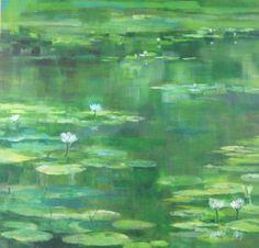 Anand Binda – Waterpartij met lelies [Pond with lilies], acrylic on linen, 2012 | Courtesy Anand Binda, 2012