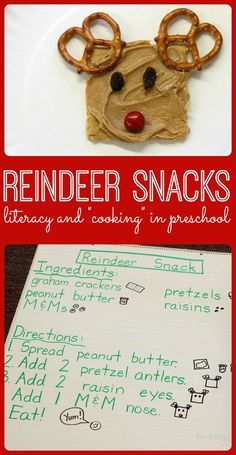 """Easy reindeer snack that kids can make themselves! Links to other reindeer-themed Christmas snacks for kids to try. Use a shared reading """"recipe"""" to link in literacy."""