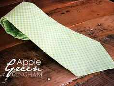 Mens Neck Tie in Apple Green Gingham by DanaEckert on Etsy, $34.00