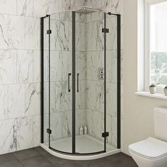 Mode Cooper black hinged quadrant shower enclosure 900 x 900 Shower Enclosure Kit, Corner Shower Enclosures, Quadrant Shower Enclosures, Family Bathroom, Downstairs Bathroom, Small Bathroom, Mira Showers, Close Coupled Toilets, Black Toilet