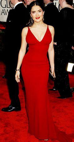 Curve-hugging red look-at-me dress! Selma Hayek