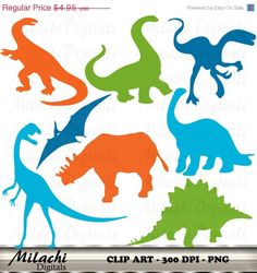 80% OFF SALE Dinosaur Clipart Silhouette by MilachiDigitals