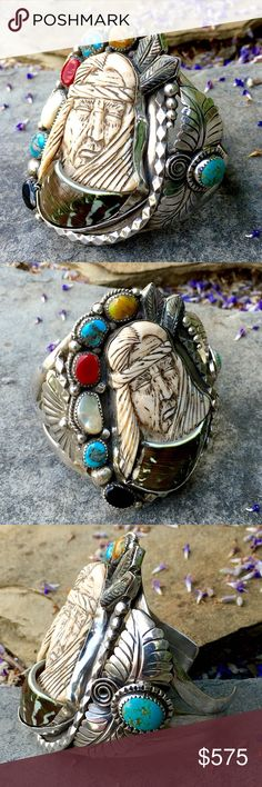 """Incredible HUGE Francisco Gomez Carved Shell Cuff This One only piece of Art by renown Spanish Silversmith &Master Carver Francisco Gomez is truly Amazing! The image, a Native American Warrior carved in shell, his Shawl draped around him proudly. Accented w:Turquoise, Coral, Jasper, Onyx & Delicately carved Mother of Pearl Feathers. Standing 3"""" Tall, 2 3/4"""" Wide, this Cuff is Fashioned of Solid Sterling, Hallmarked - 7"""" around the inner cir. Incl. the 1 1/4"""" gap. Fans, Leaves, Balls, Twirls…"""