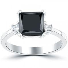 2.31 Carat Certified Princess Cut Black Diamond Engagement Ring 14k White Gold - Black Diamond Rings - Rings