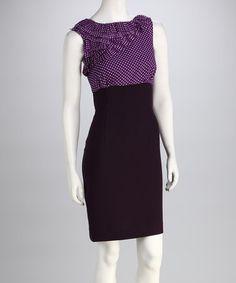 {Plum & Black Polka Dot Ruffle Dress by Jemma}
