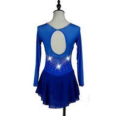 Figure Skating Dress Women's Girls' Ice Skating Dress Royal Blue Spandex Rhinestone Stretchy Performance Skating Wear Quick Dry Anatomic 2018 - €83.57