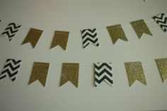Chevron and Gold Glitter Paper Flag Garland by SimplyScissors, $10.00