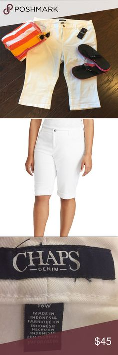 Plus Size CHAPS Cuffed Twill Bermuda Capri Pants With rolled cuffs and a length that hits the knees, these women's Chaps shorts are a must-have for the season.   PRODUCT FEATURES 	•	Stretchy twill construction 	•	5-pocket FIT & SIZING 	•	14-in. inseam 	•	Midrise sits above the hip 	•	Slim fit 	•	Zipper fly FABRIC & CARE 	•	Cotton, elastane 	•	Machine wash 	•	Imported Chaps Shorts Bermudas