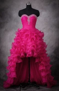 Sweetheart neck, sequins, ruffles and high low hemline, this dress will definitely grab eyes on the prom. $155 #promdress