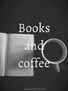 Books and Coffee print. Would look amazing with a bright colored frame.