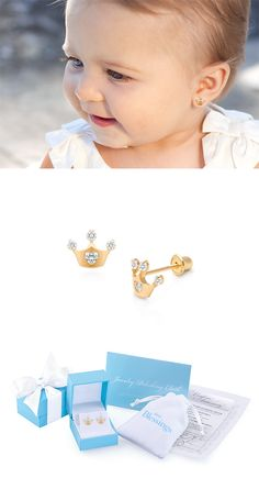 Princess at Heart 14k Gold Baby Earrings with Safety Screw Backs. Amazing Little Gift for First Birthday for your Little Girl's Jewelry Box.