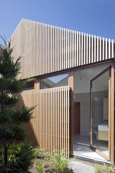 Exterior Timber Battens by Steffen Welsch Architects. Project: House in House. Timber Battens, Timber Cladding, Exterior Cladding, Design Exterior, Facade Design, House Design, Architecture Details, Interior Architecture, Japan Architecture