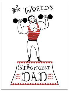 Worlds Strongest Dad Birthday Card for Dad Hand by ravenandrenn