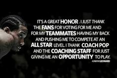 It's a well-deserved honor. He should be in the MVP conversation! #TheKlaw #GSG #SpursFanForLife