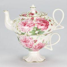 Royal Albert style Tea for One set Teapot cup rose shabby chic porcelain NEW  #Teaforoneteapotandhighlegcup