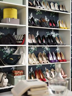 closet idea: wallpaper behind!