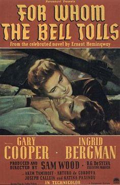 For Whom the Bell Tolls(Por quem os sinos dobram). Livro de Hemingway que conta a história de um jovem dinamitador inglês que vai para a Espanha e recebe a missão de explodir uma ponte,na época da Guerra Civil da Espanha.