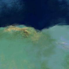 Paysage abstrait, peinture, crayon, bleu, vert, insertion photo, oeuvre unique, impression d'art, édition limitée, épreuve signée numérotée Crayon, Les Oeuvres, Waves, Unique, Photos, Outdoor, Etsy, Abstract Drawings, Abstract Landscape