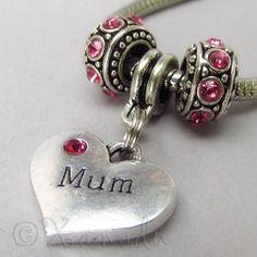 Mum Hot Pink European Charm Beads Trio For Charm Bracelets