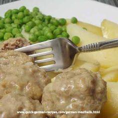 Yummy German meatballs, called Koenigsberger Kloepse - http://www.quick-german-recipes.com/german-meatballs.html