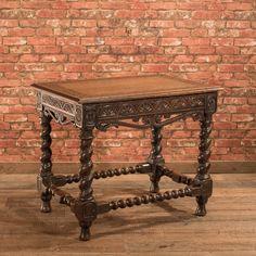 ~ Antique Jacobean Revival Side Table, English Oak Victorian Hall Furniture c.1880 ~ ebay.com
